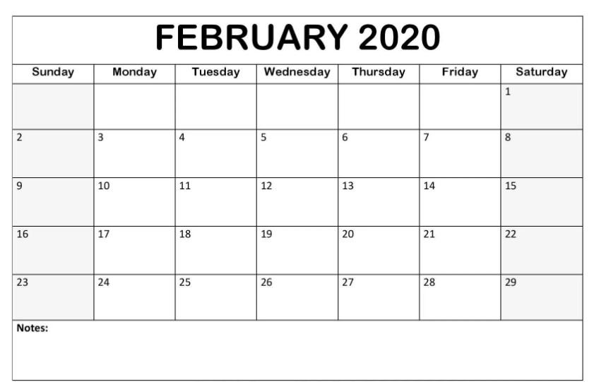 Blank February 2020 Fillable Calendar