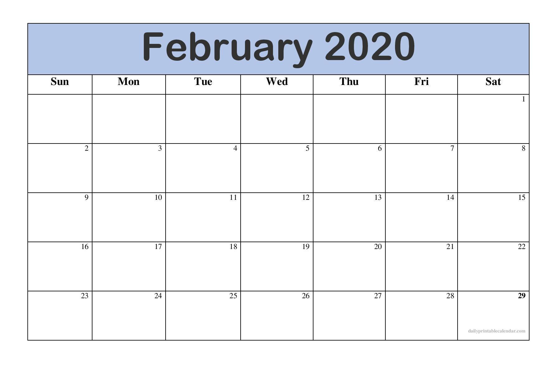 February Calendar 2020 Free Printable