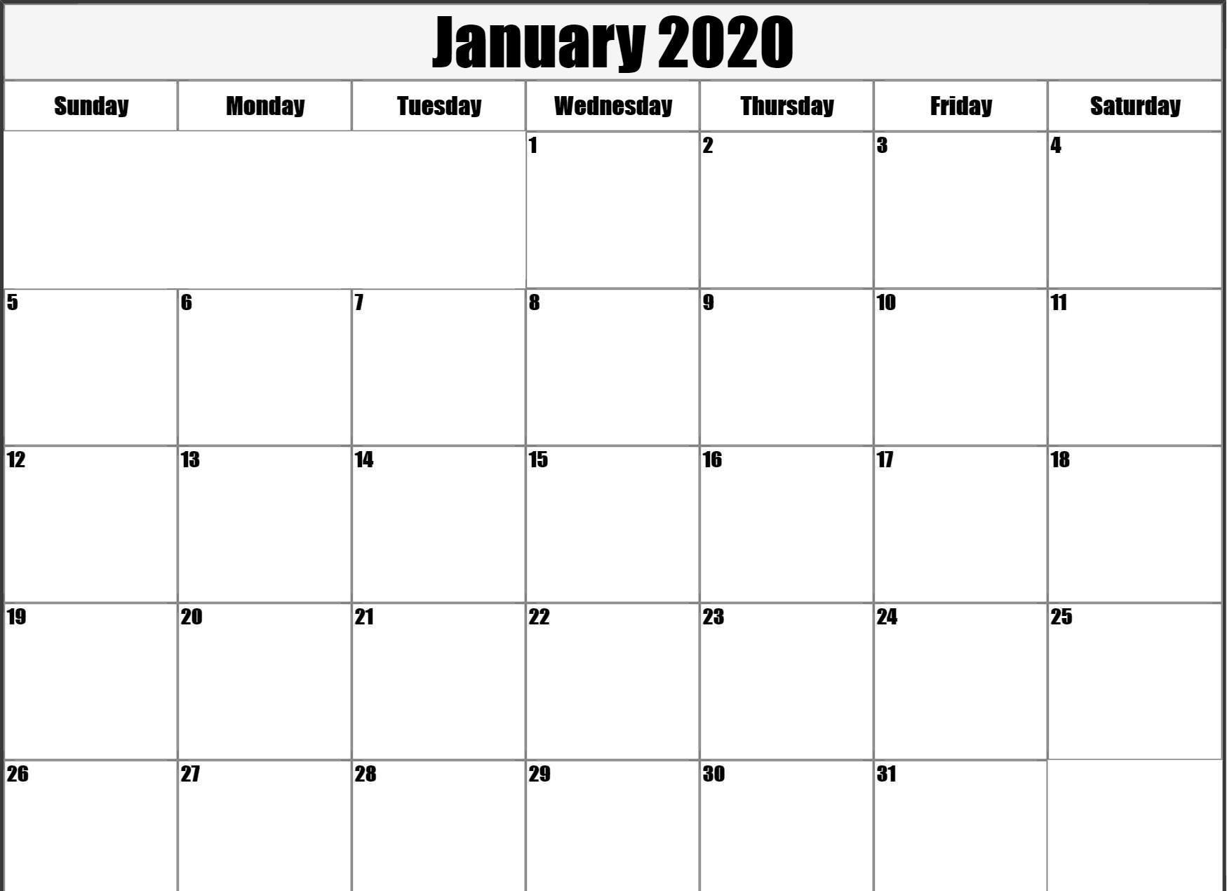 January 2020 Blank Calendar Printable