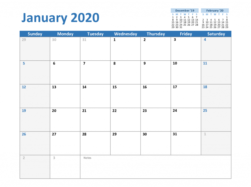 picture relating to January Calendar Printable titled Totally free Blank January 2020 Calendar Printable PDF, Phrase, Excel