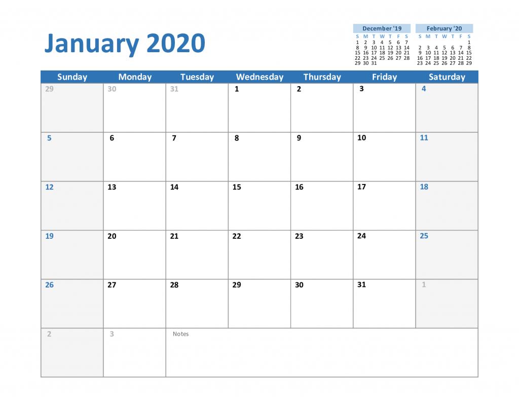 January Excel Calendar 2020 1024x791