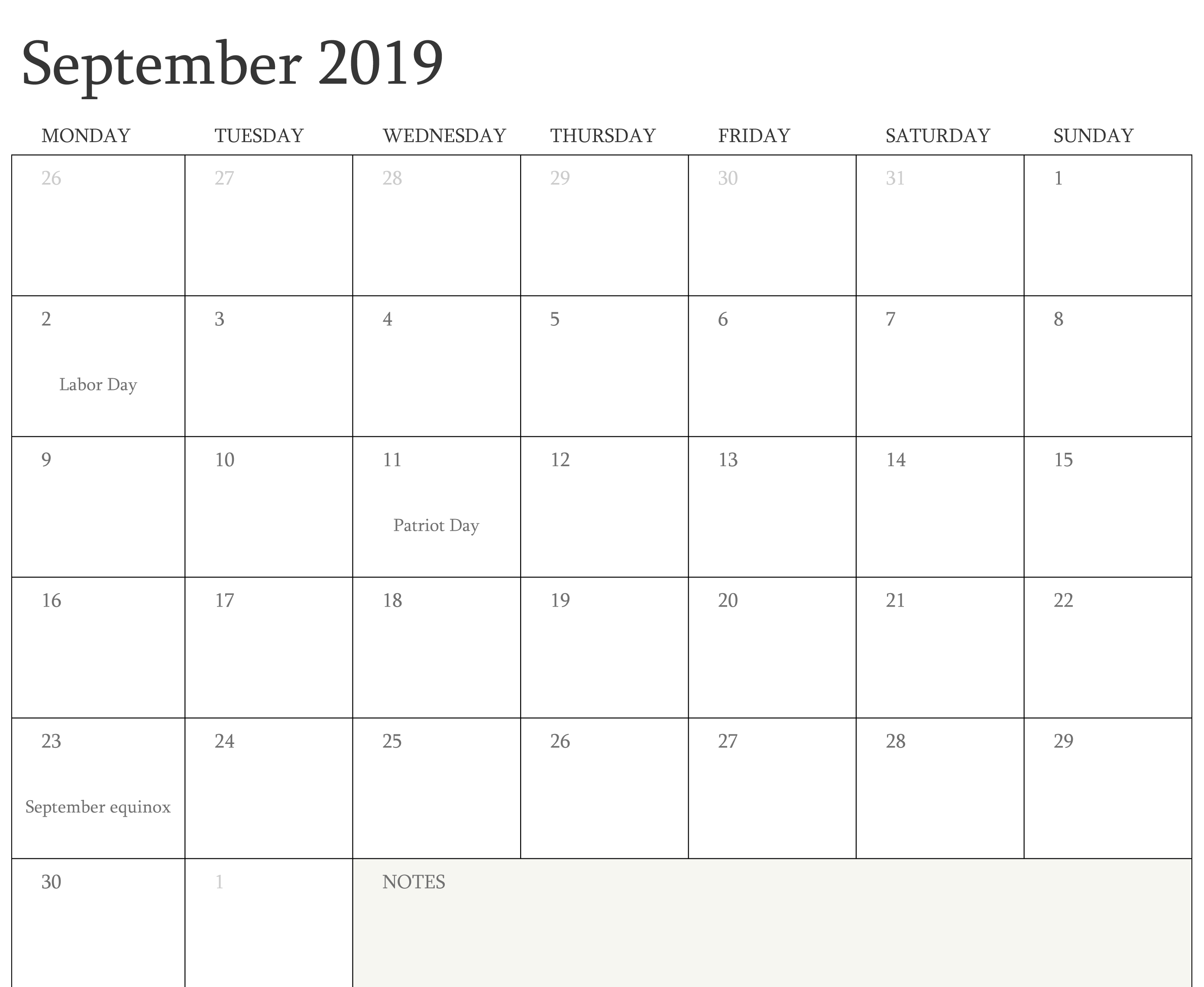 September 2019 Calendar Holidays