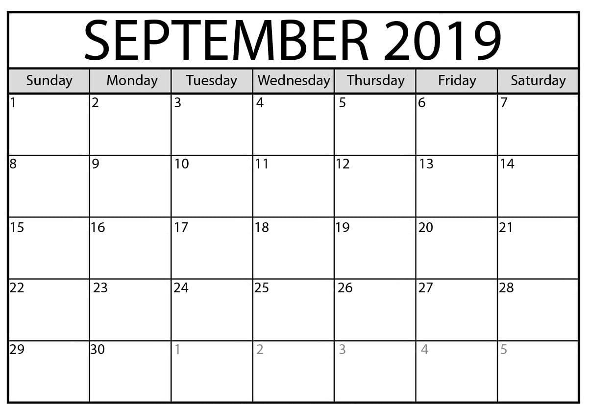 September Calendar 2019 Free Printable