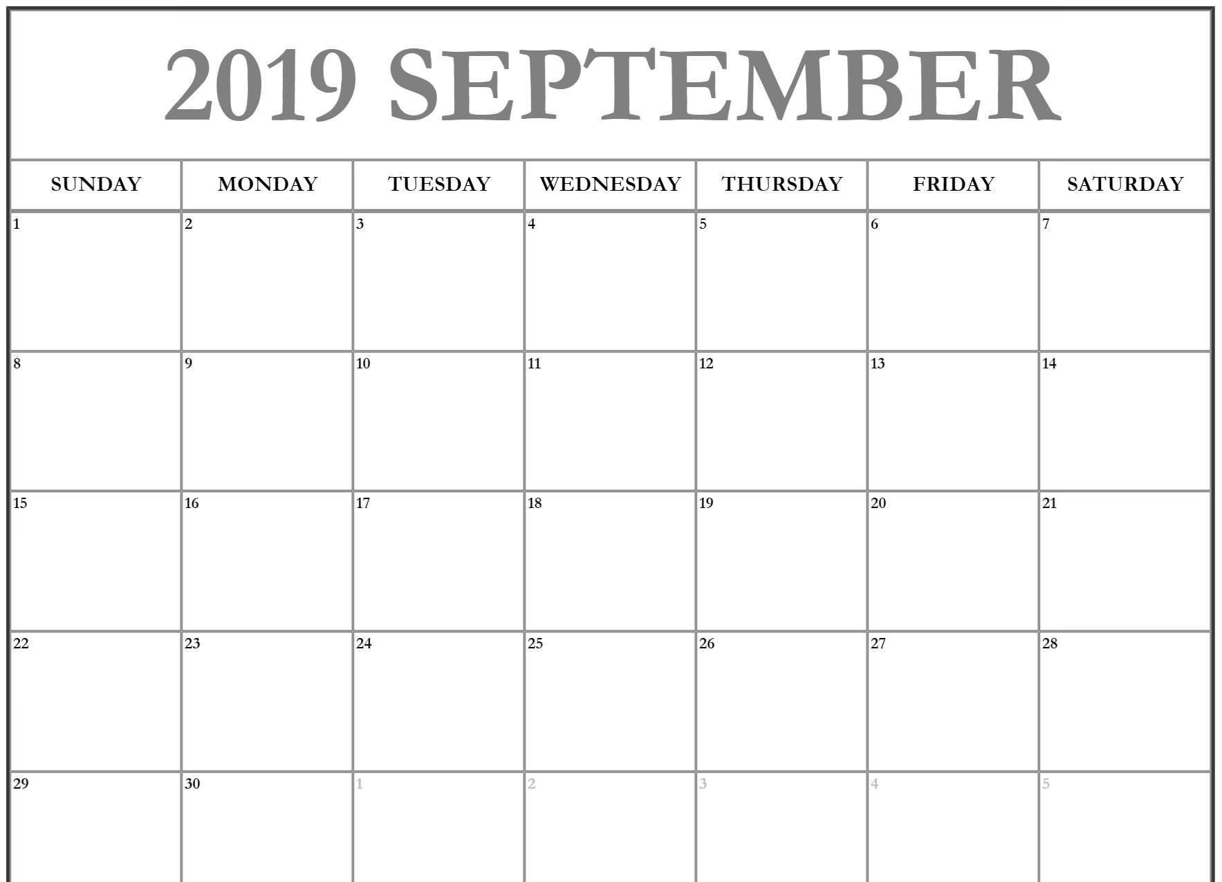 September calendar 2019 printable