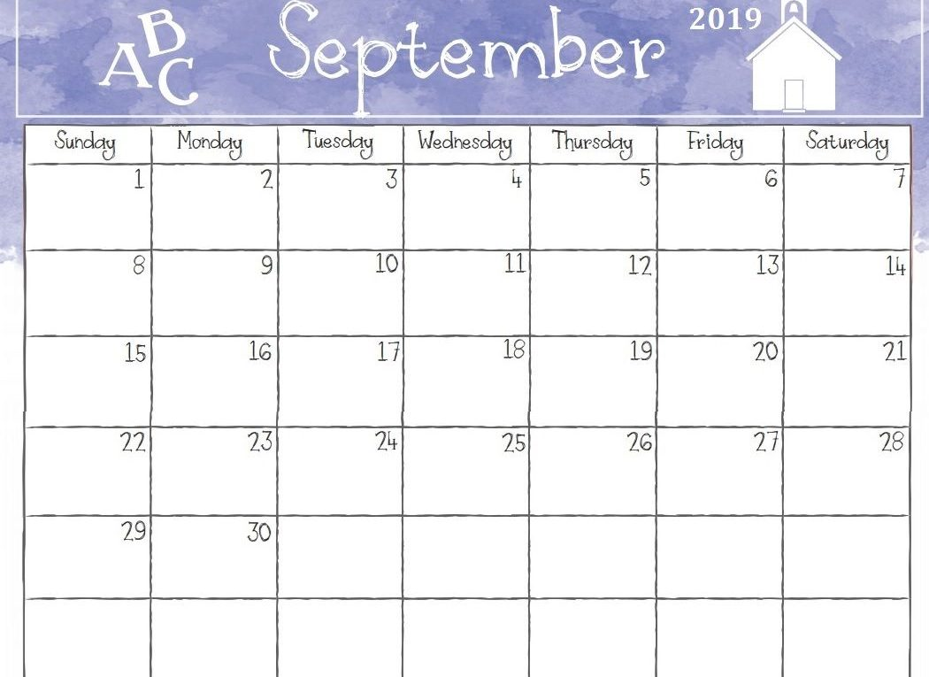 photograph about Free Printable September Calendar known as Blank September 2019 Calendar Cost-free Printable Templates