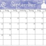 Watercolor September 2019 Calendar