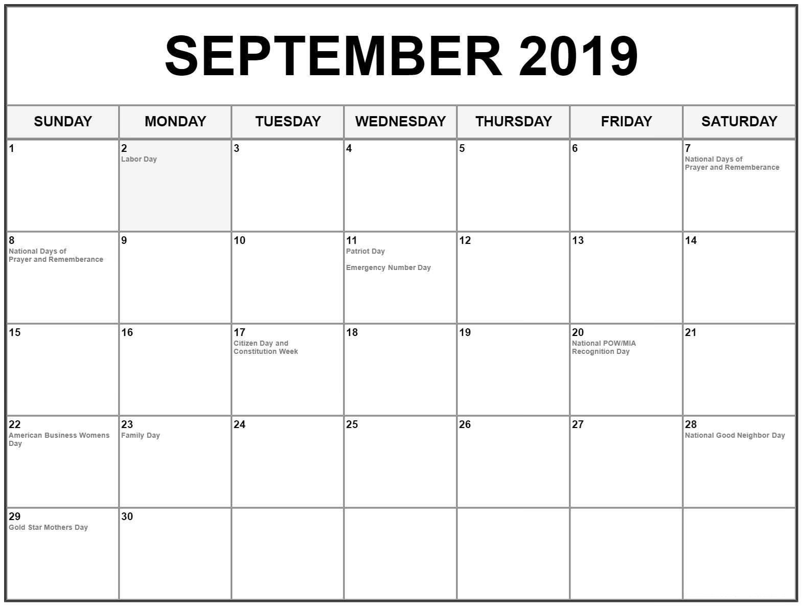 september calendar 2019