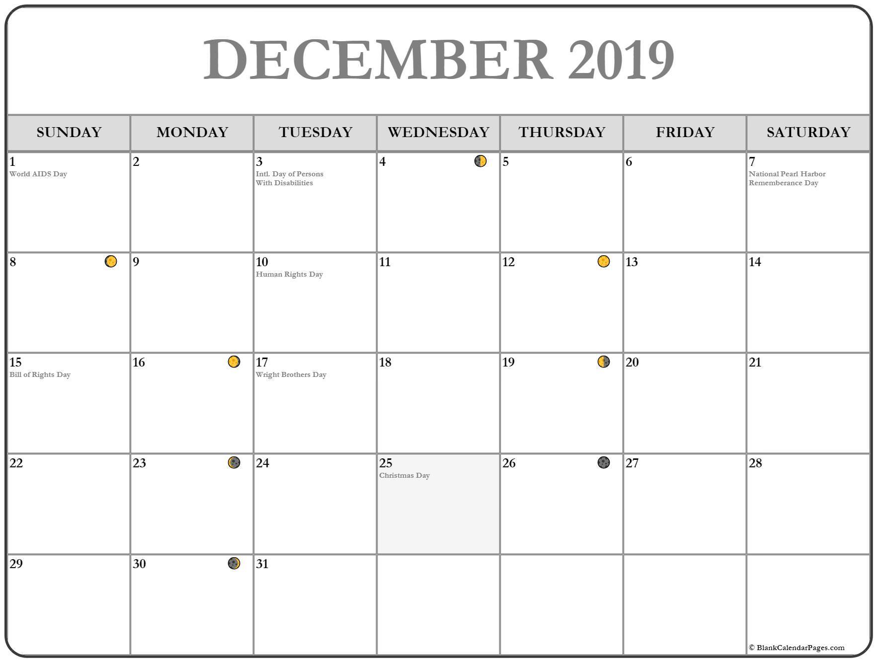 December 2019 Moon Calendar Phases