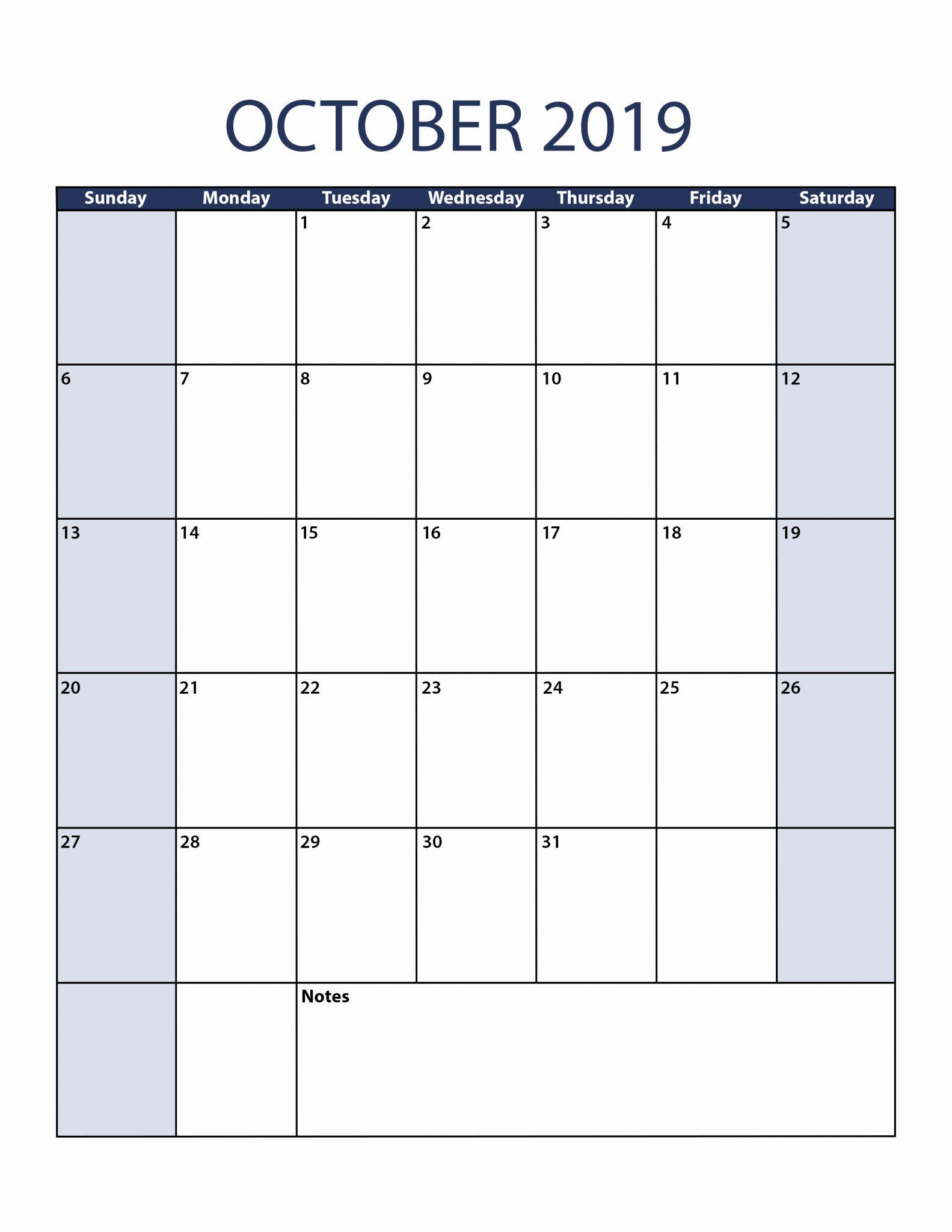 blank october calendar 2019 word