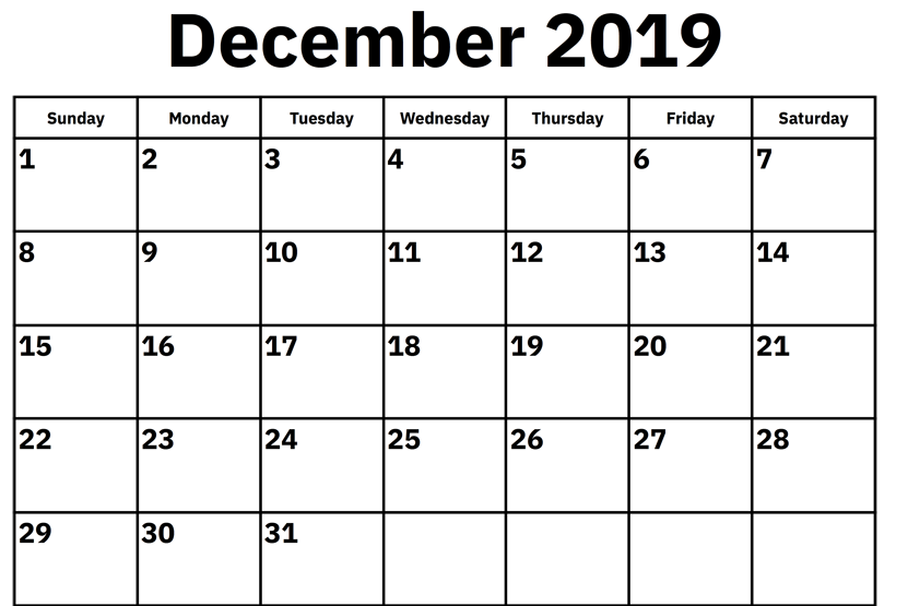 December 2019 Calendar Download