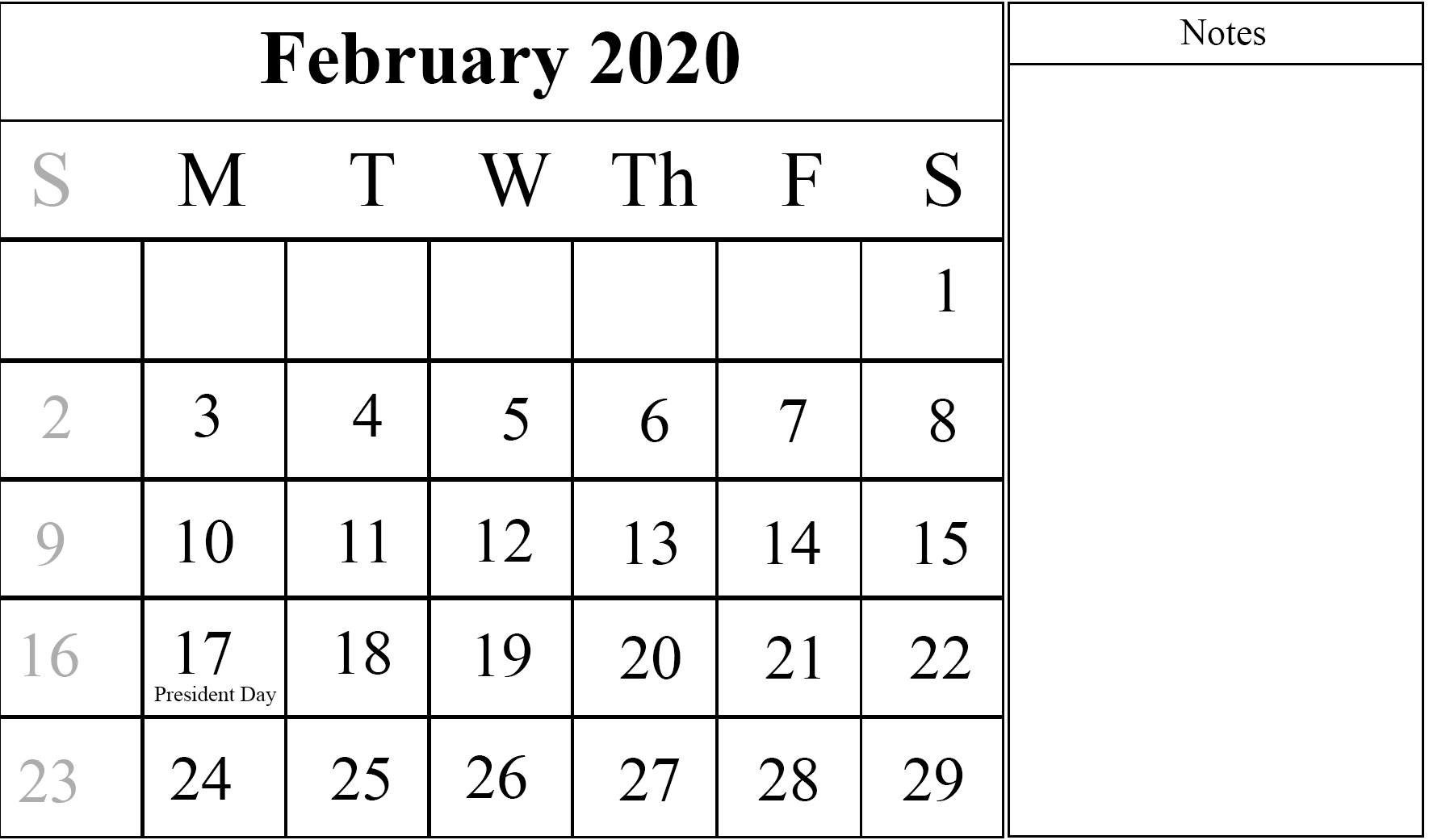 Editable February 2020 Calendar Fillable To Print with Large Space