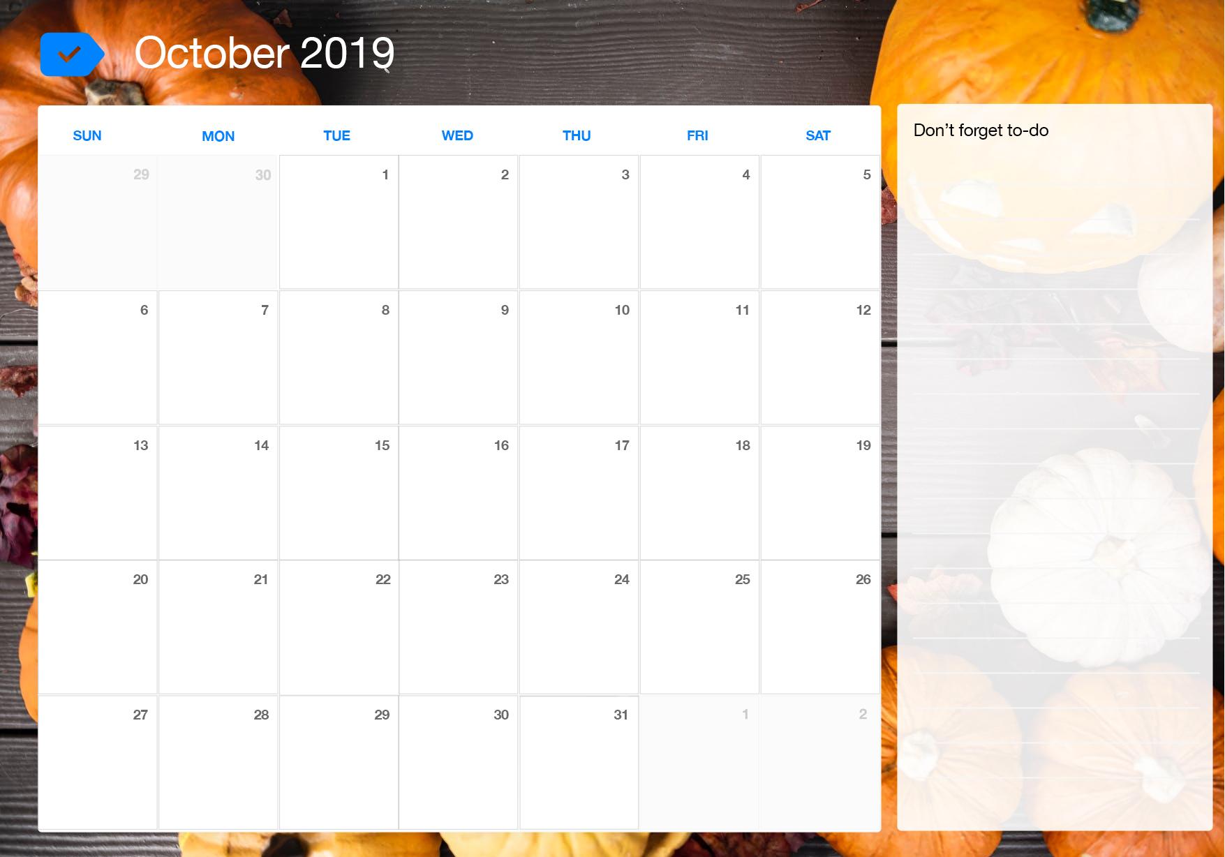 Free October 2019 Calendar Printable Template PDF Word Excel 1