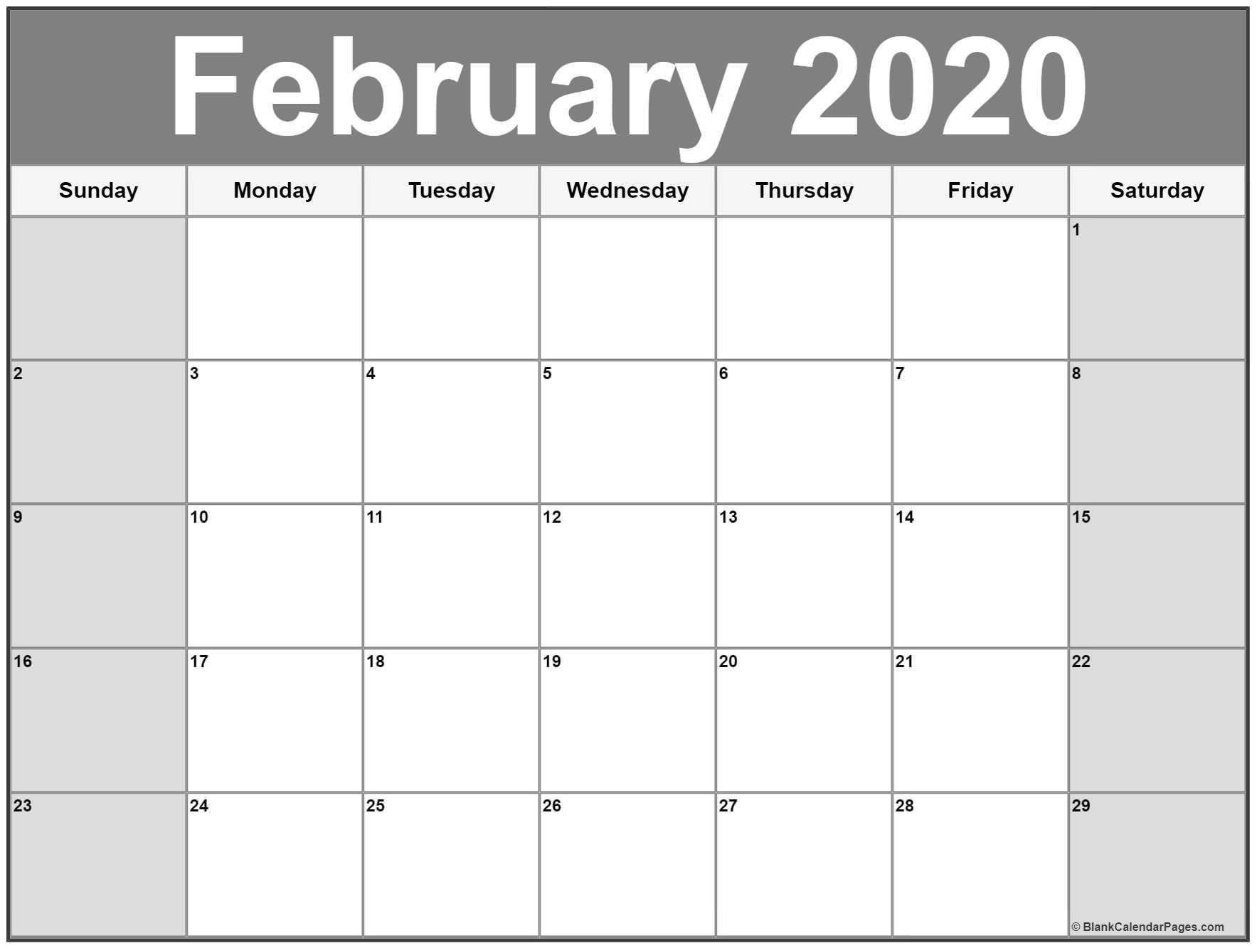 Free Printable February Calendar 2020 February 2020 calendar