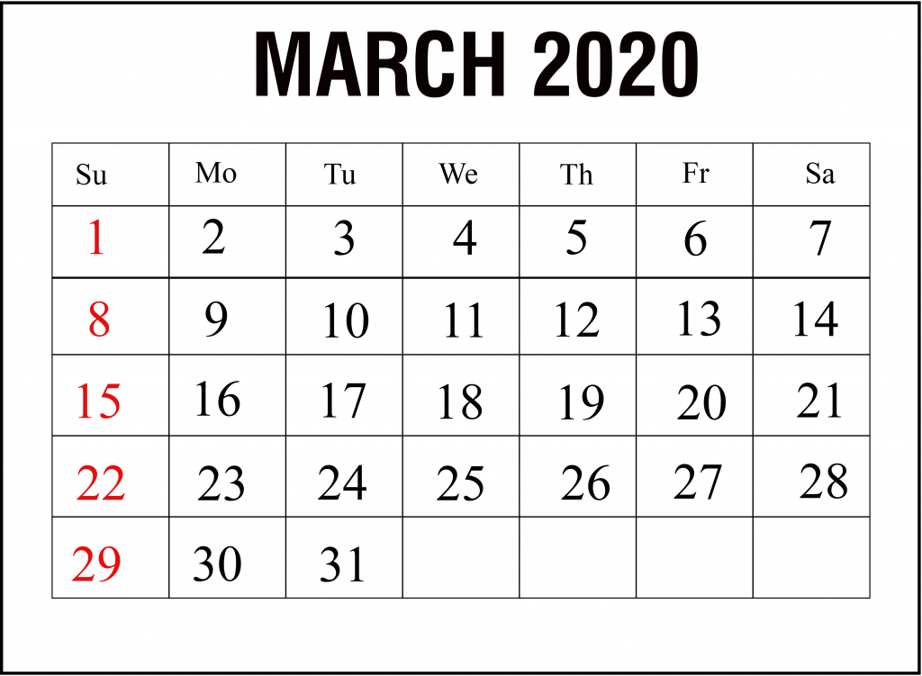 March Printable Calendar 2020.Blank March Calendar 2020 Printable Template