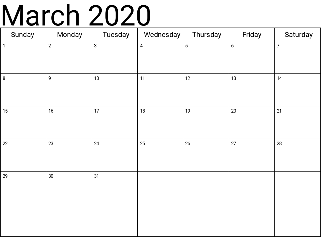March 2020 Printable Calendar Template