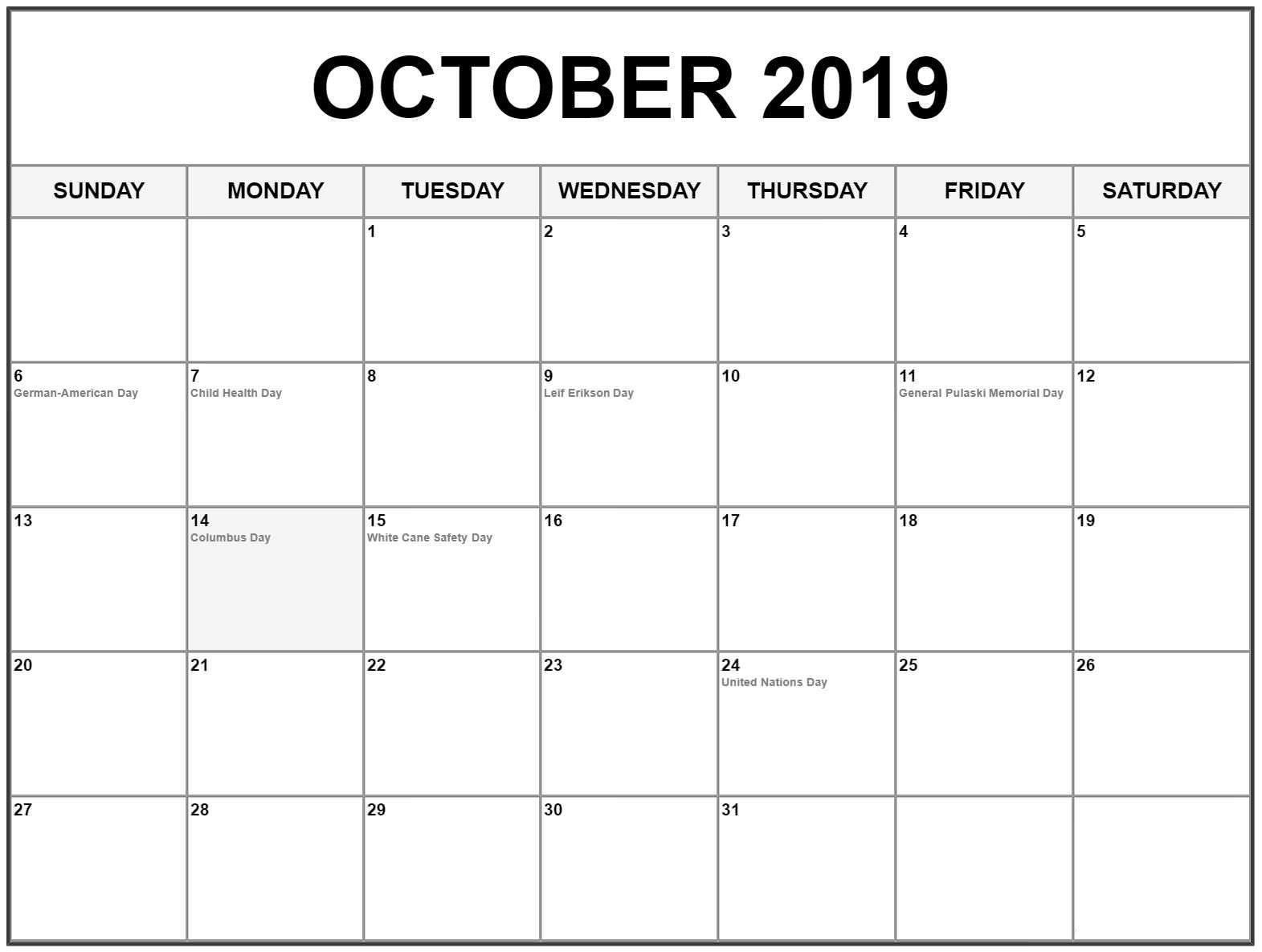 October 2019 Calendar Holidays USA