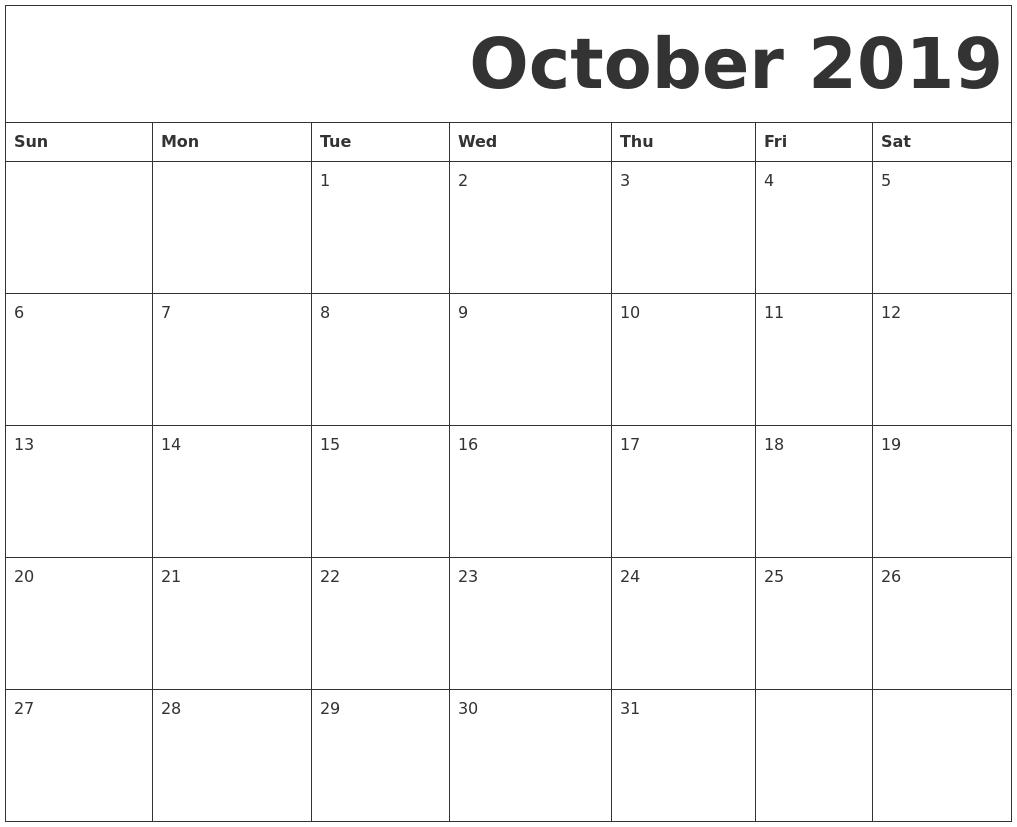 October 2019 Free Printable Calendar