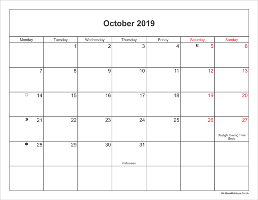 October 2019 Holidays UK