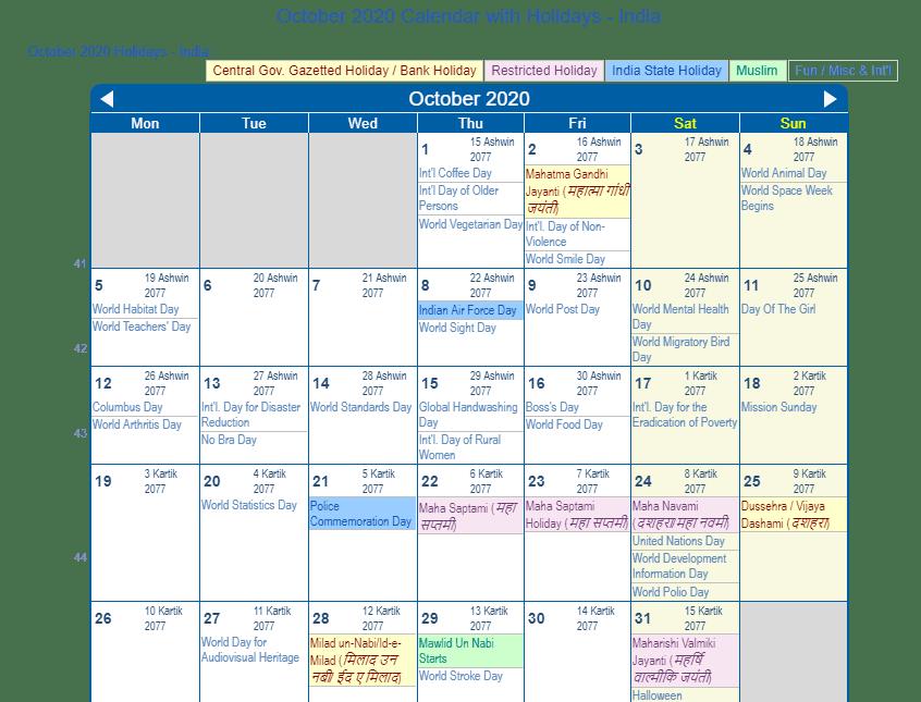 October 2020 Calendar with Holidays India