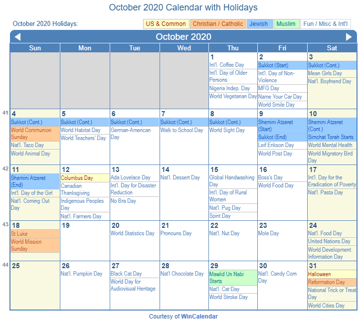 October 2020 Calendar with Holidays United States