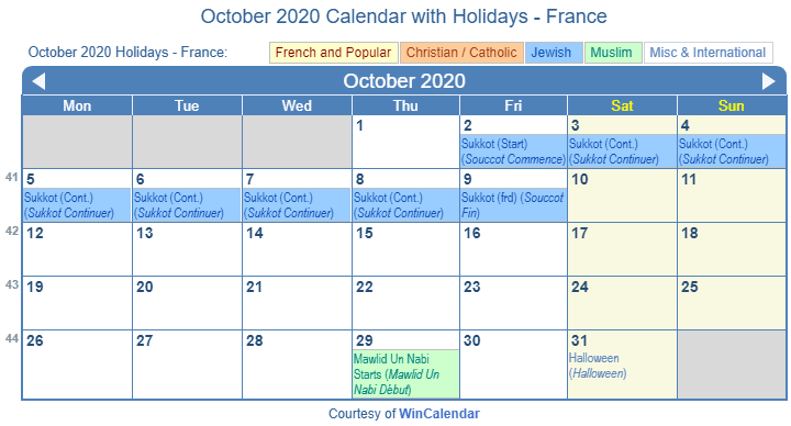October 2020 France Calendar Holidays