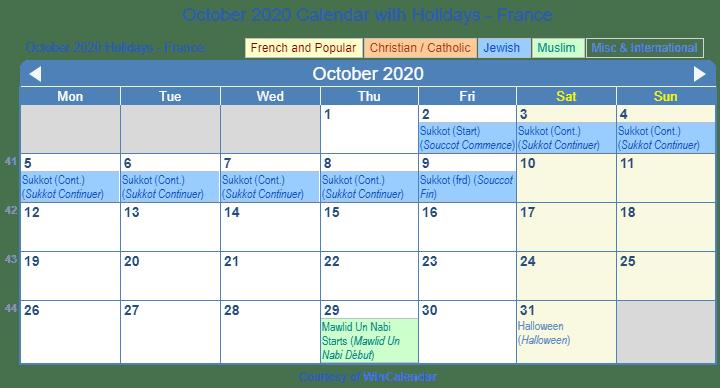 October 2020 France Calendar Holidays