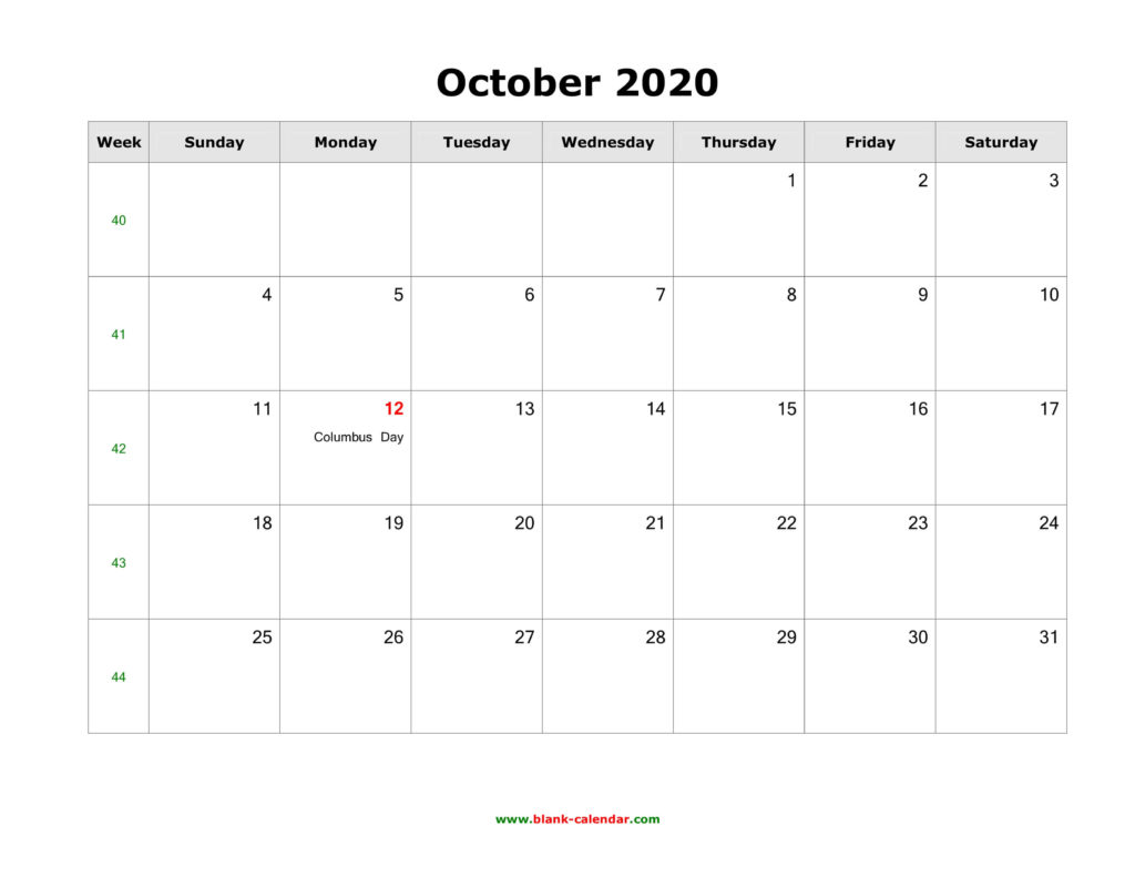 October 2020 US Calendar Holidays