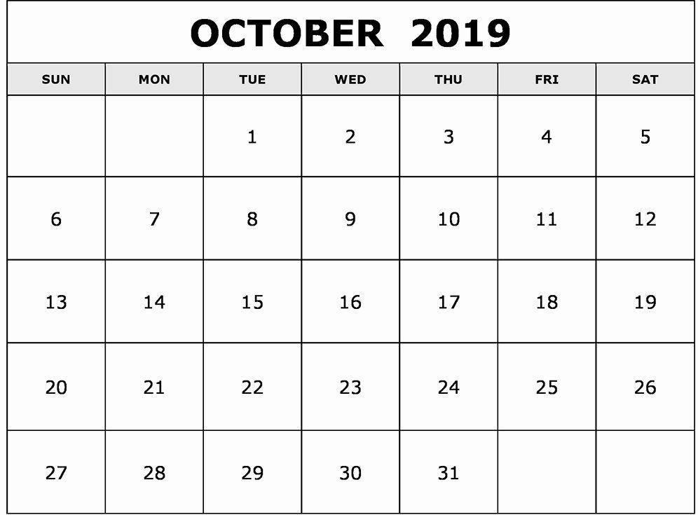 Blank October Calendar 2019 Landscape