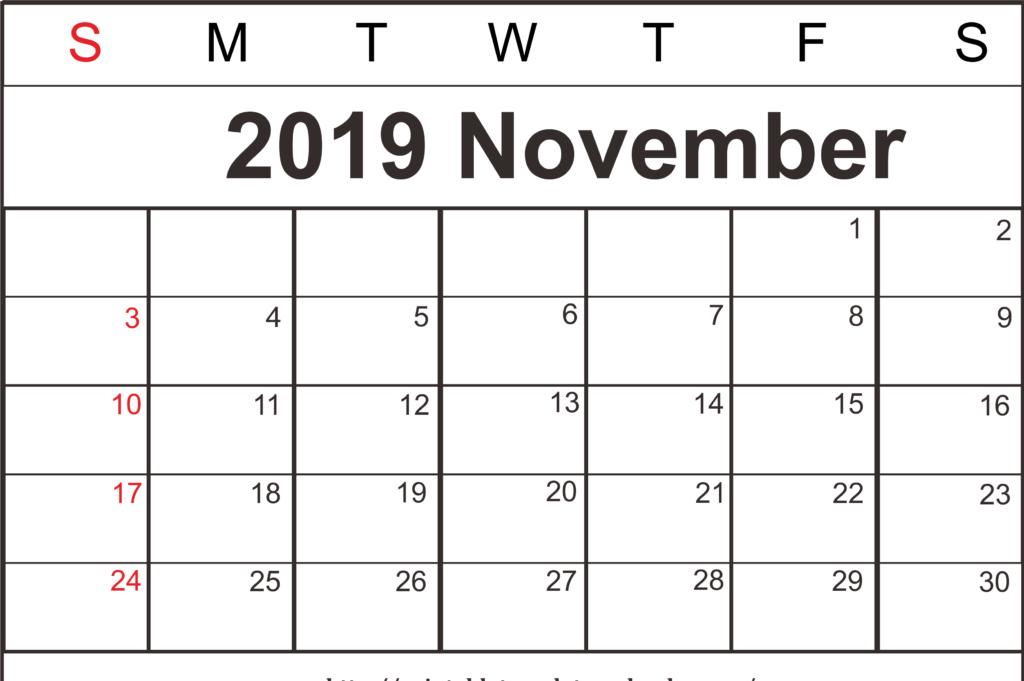 Free November 2019 Calendar Printable Template Pdf Word A4