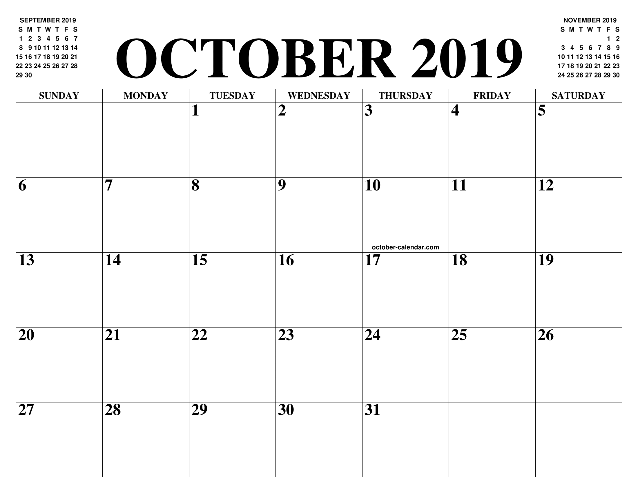 Printable October Calendar 2019 Template