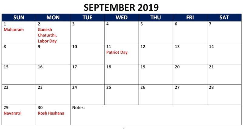 Sept 2019 Calendar Holidays