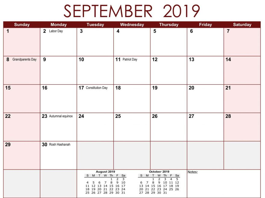 Sept 2019 Calendar with Holidays
