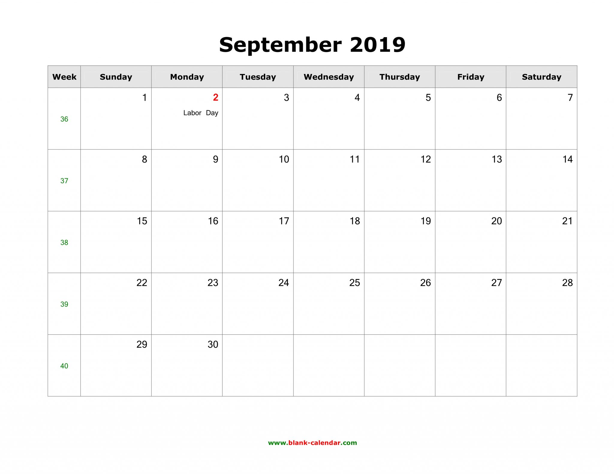 Sept 2019 US Holidays