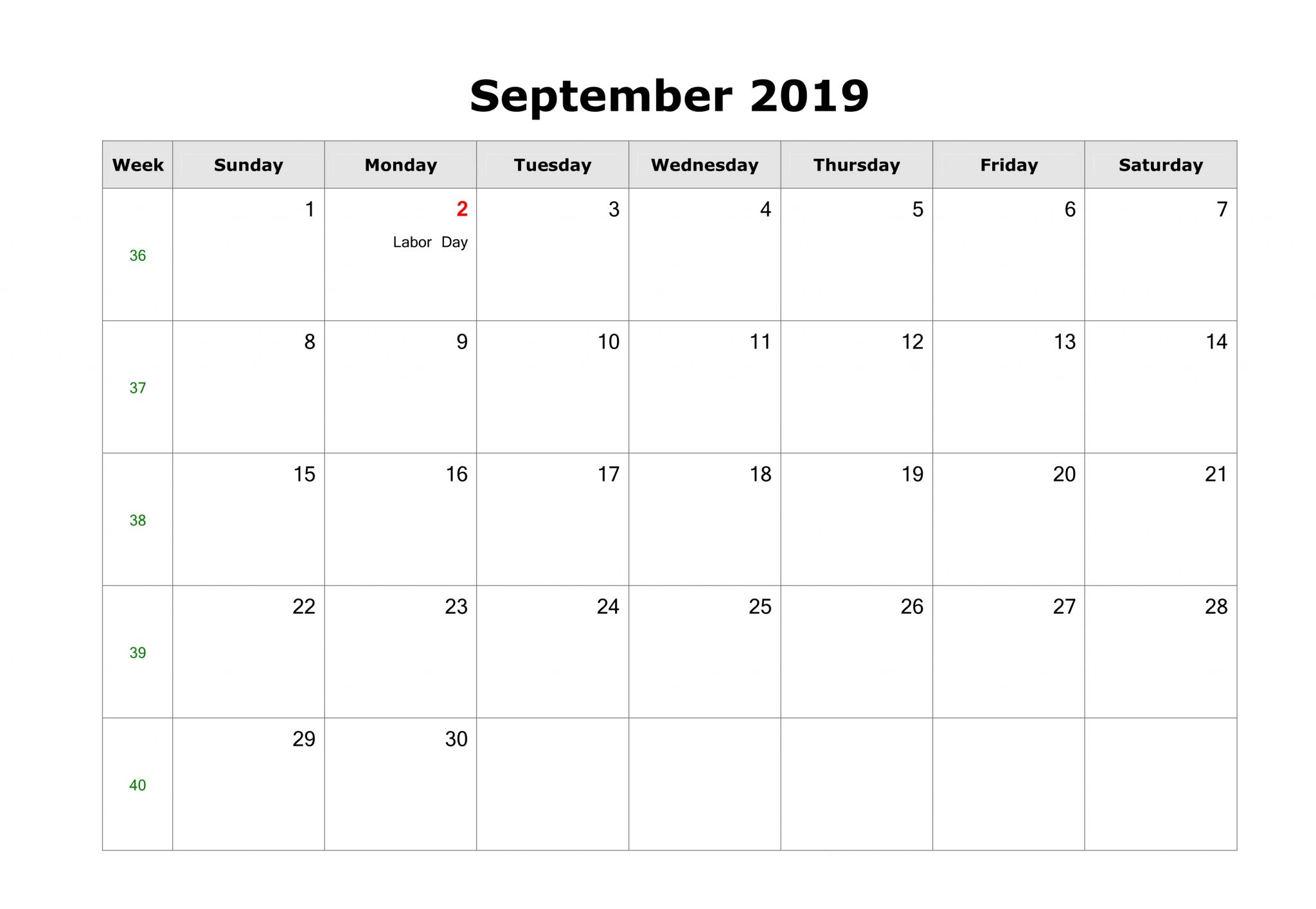 September 2019 Blank Calendar with US Holidays