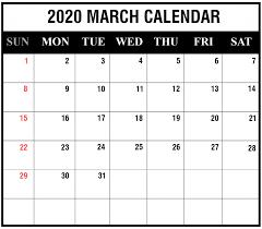 march 2020 calendar printable
