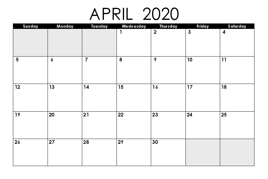 April 2020 Calendar Printable.Free Blank April Calendar 2020 Printable Template Editable