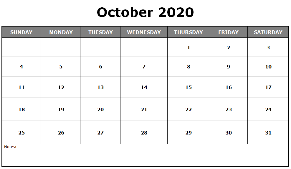 Blank Calendar 2020 October with Notes