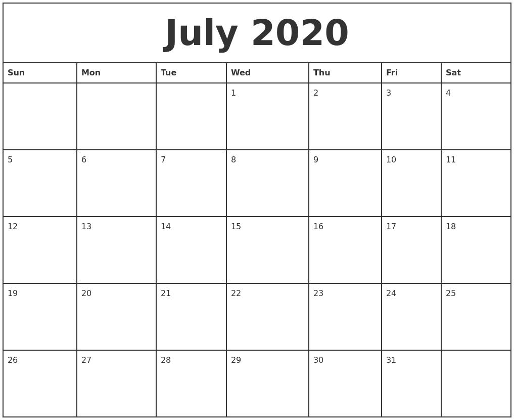 Blank July 2020 Printable Calendar