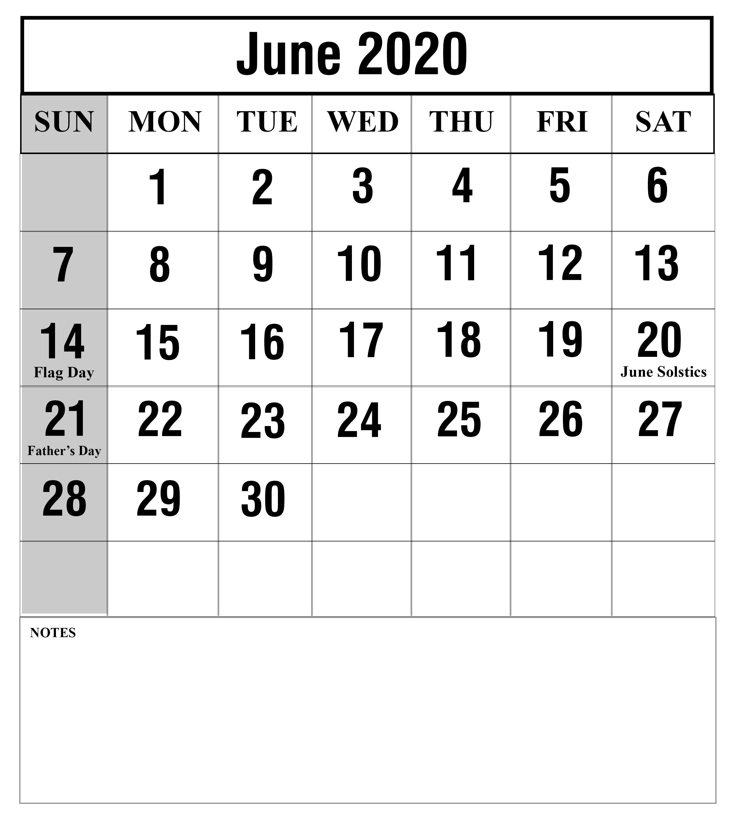 Blank June 2020 Printable Calendar