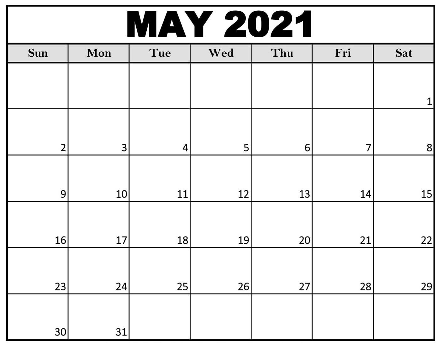 Blank May 2021 Calendar Download