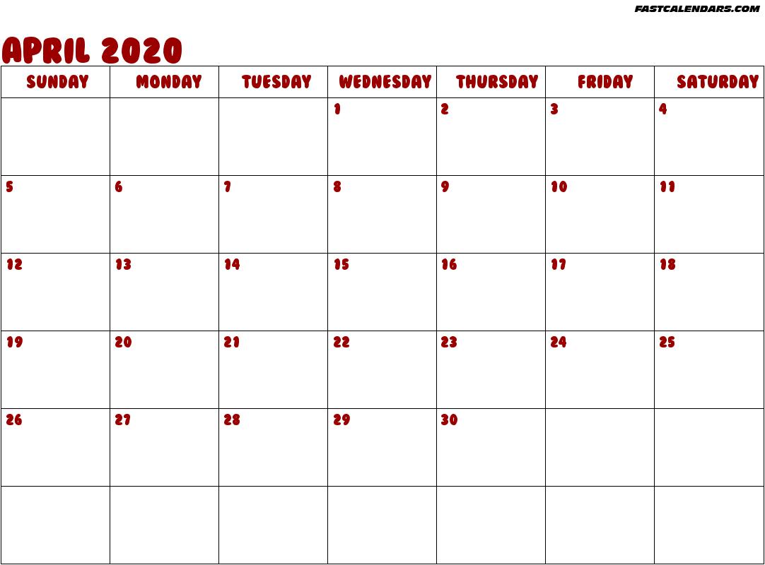 Blank Printable April 2020 Calendar Editable