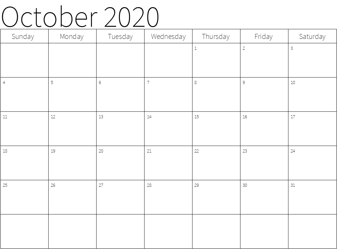 Calendar For October 2020 Printable