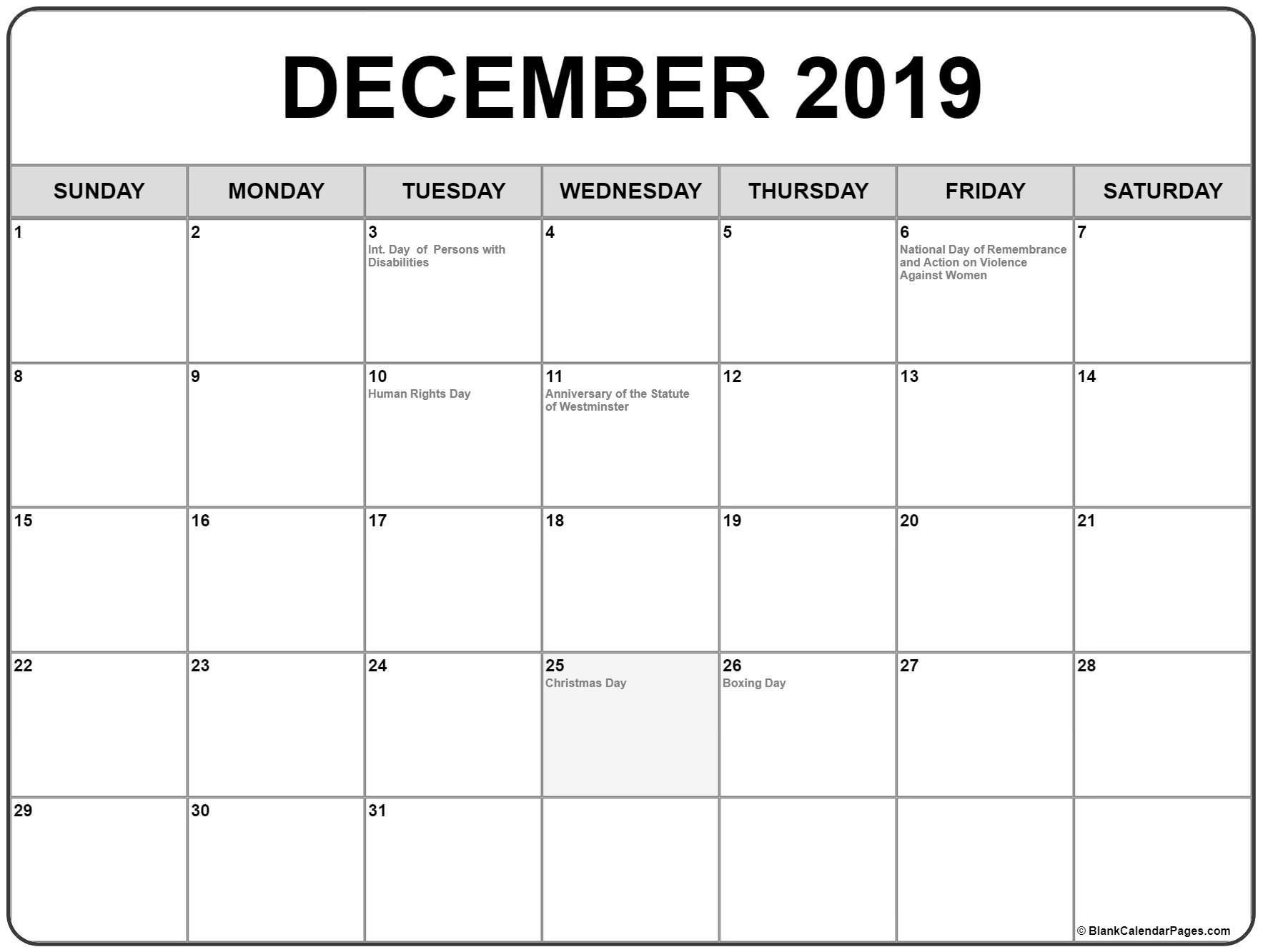 december 2019 calendar canada holidays