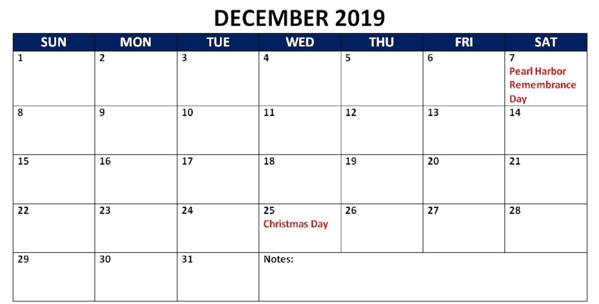 December 2019 Calendar With Holidays UK