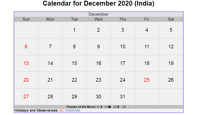 December 2020 Calendar with Holidays India