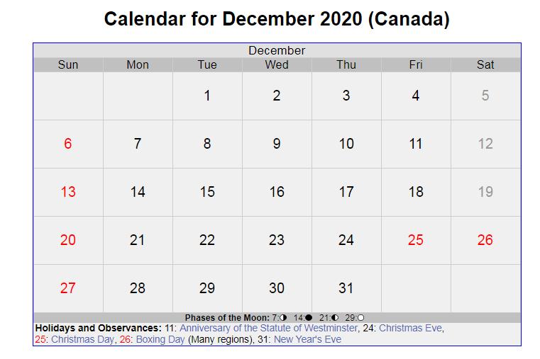 December 2020 Canada Holidays Calendar