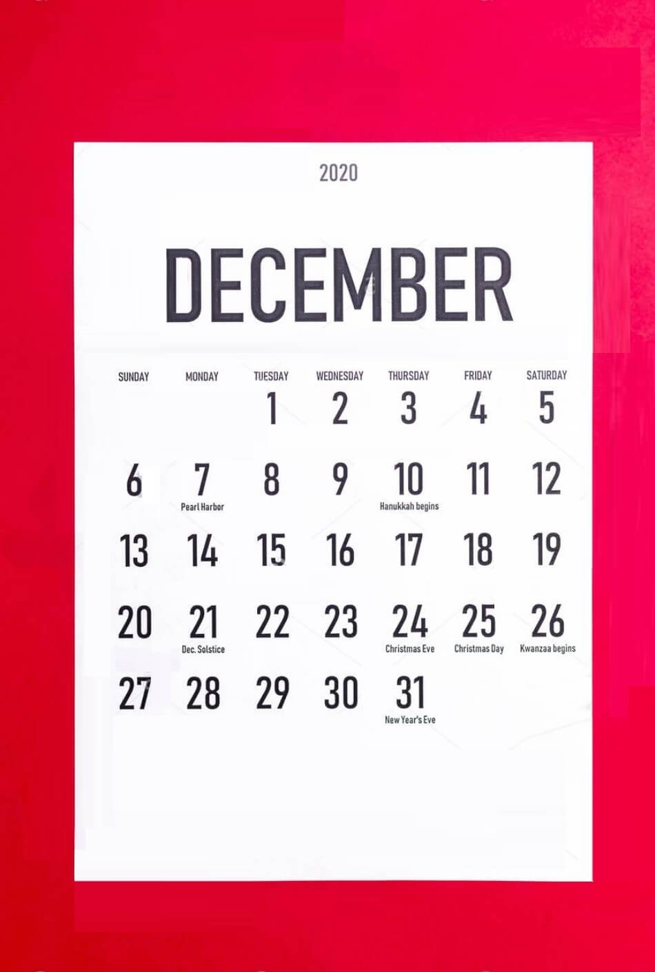 December 2020 Holidays Calendar Design