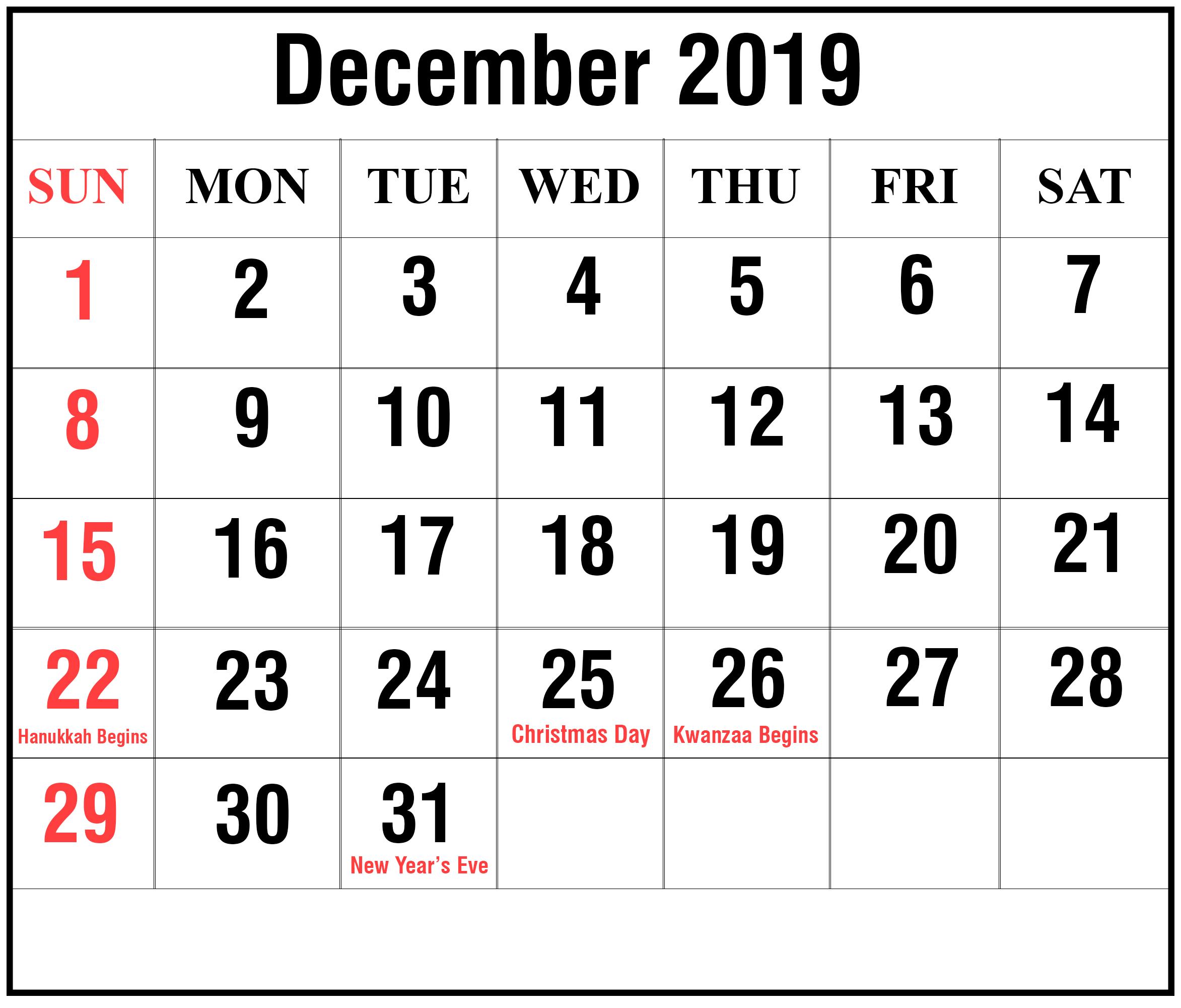 December Calendar 2019 with Holidays
