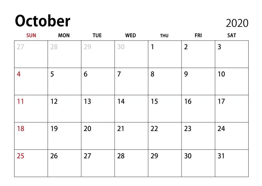Download October 2020 Calendar Free