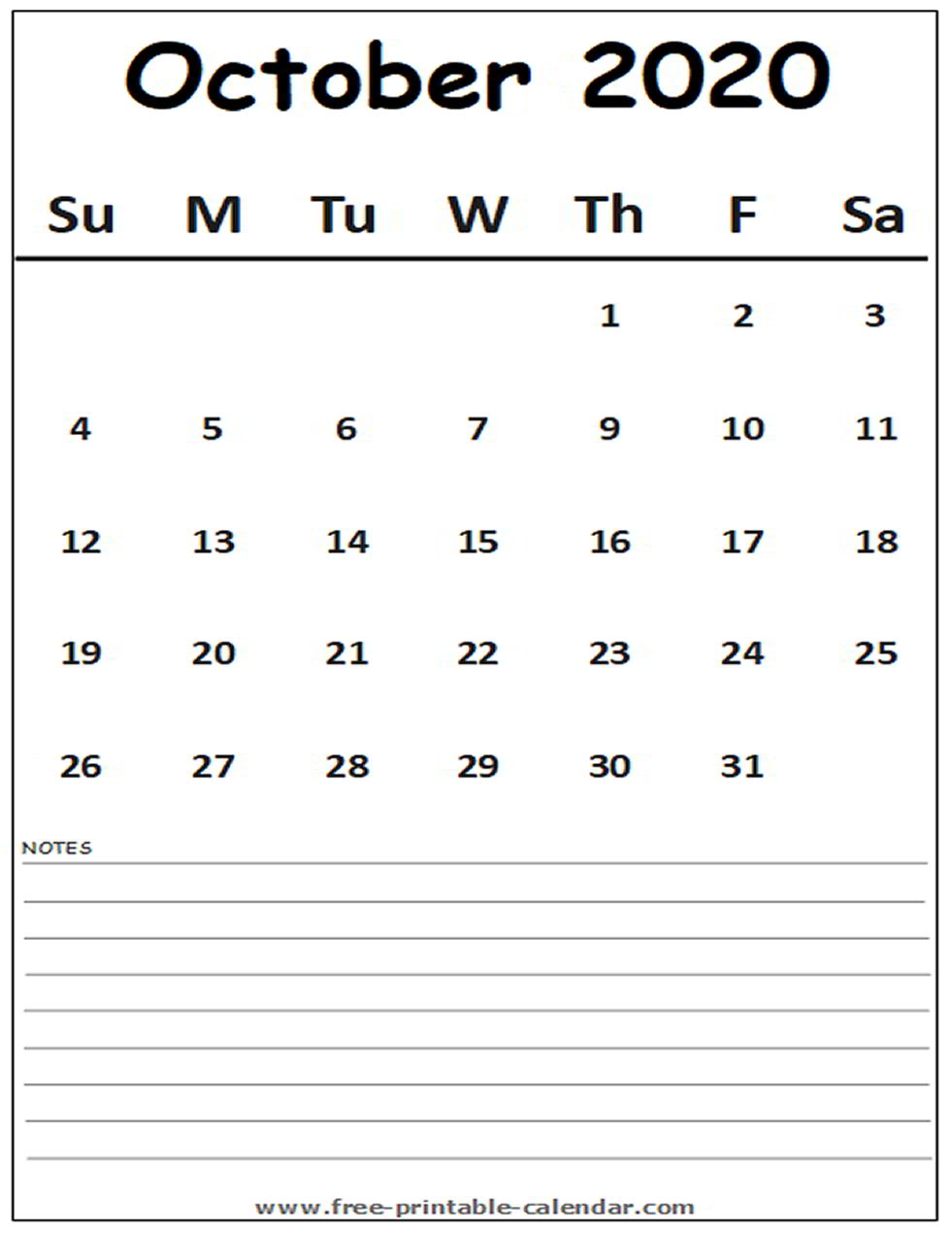 Fillable Calendar For October 2020